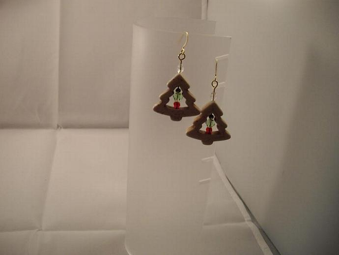 Crystal and Howlite Christmas Earrings