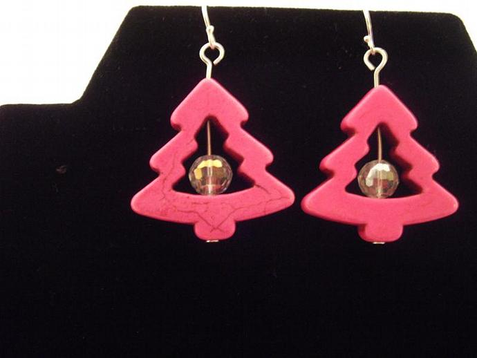 Howlite and Crystal Christmas Earrings