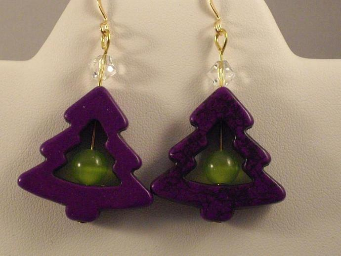 Howlite Christmas Earrings