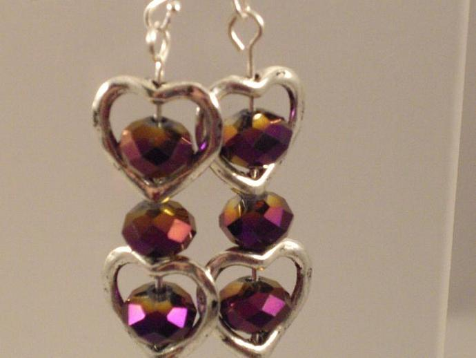 Purple Crystal Heart Drop Earrings