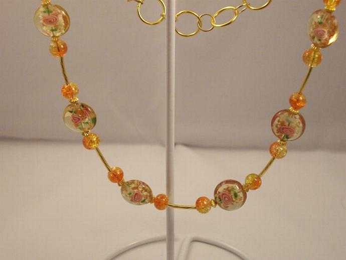 Lampwork Pink Roses Necklace