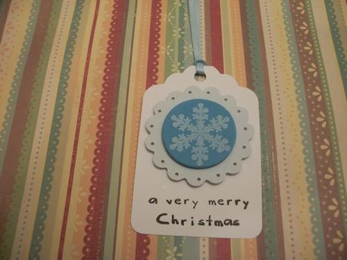 White and Blue Christmas Snowflake Holiday Tags / SALE /4ct