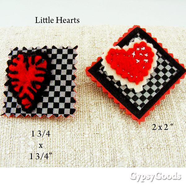 2 Sweet Little Heart Brooches