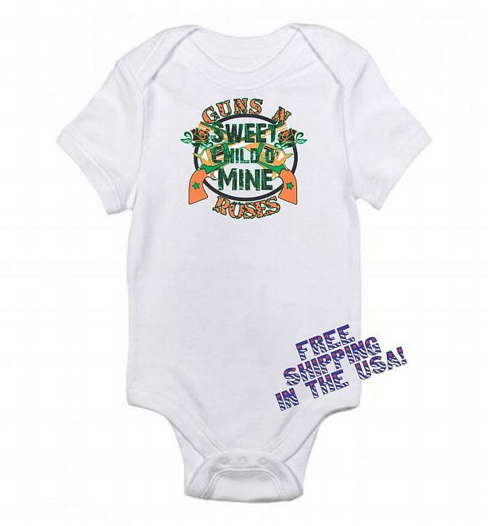 1eba76c55d07 Sweet Child O' Mine Guns & Roses Inspired Funny Baby Onesie 0-3 m