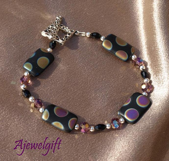 Shimmering Dichroic Polka Dot Bracelet 10-006