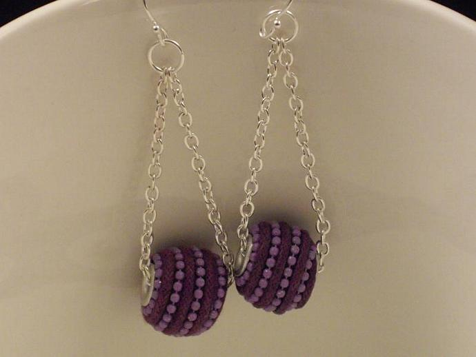 Exotic Purple Bead Earrings