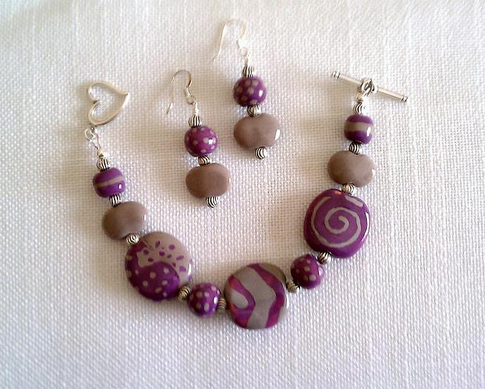 Kazuri Bracelet & Earrings Set, Item #379