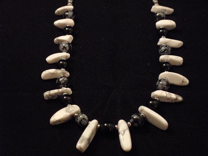 Howlite, Black Onyx and Snowflake Obsidian Necklace