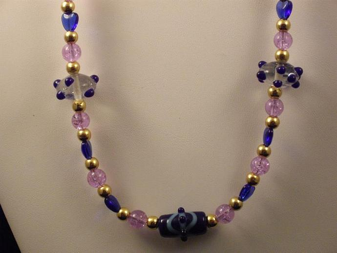 Lampwork and Crackle Bead Necklace