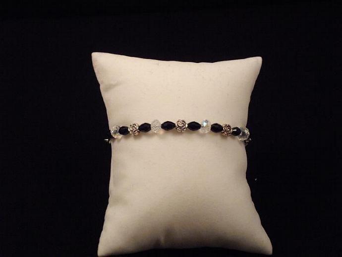 Black and AB Crystal Rose Bracelet