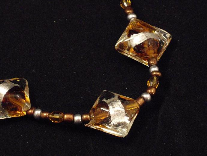 Crystal, Gold and Silver Glass Bead Necklace