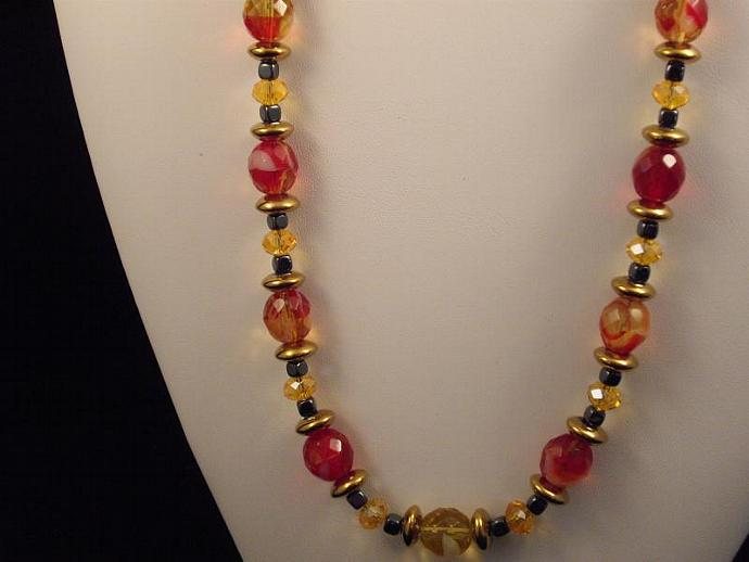 Crystal and Swirly Glass Bead Necklace