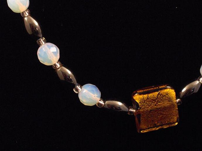 Black and Opalite Bead Necklace