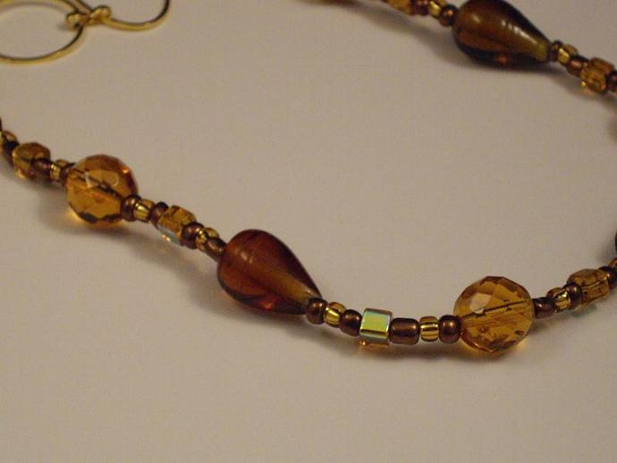 Amber and Brown Glass Bead Necklace