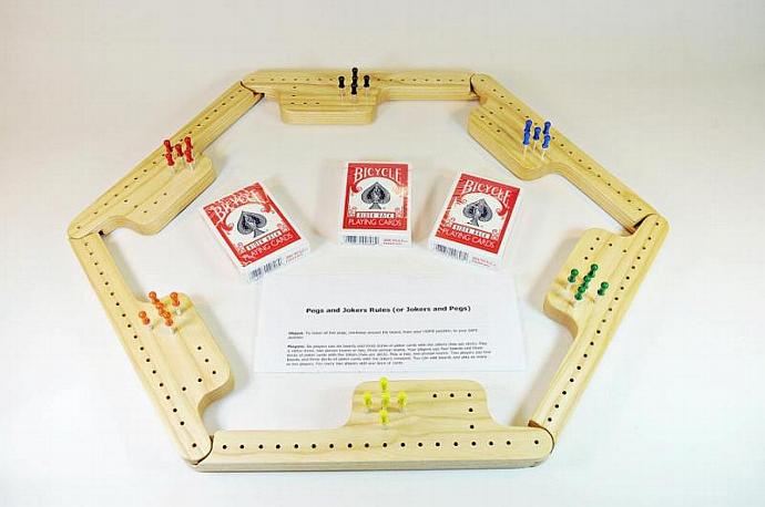 Pegs and Jokers Game Set - White Ash