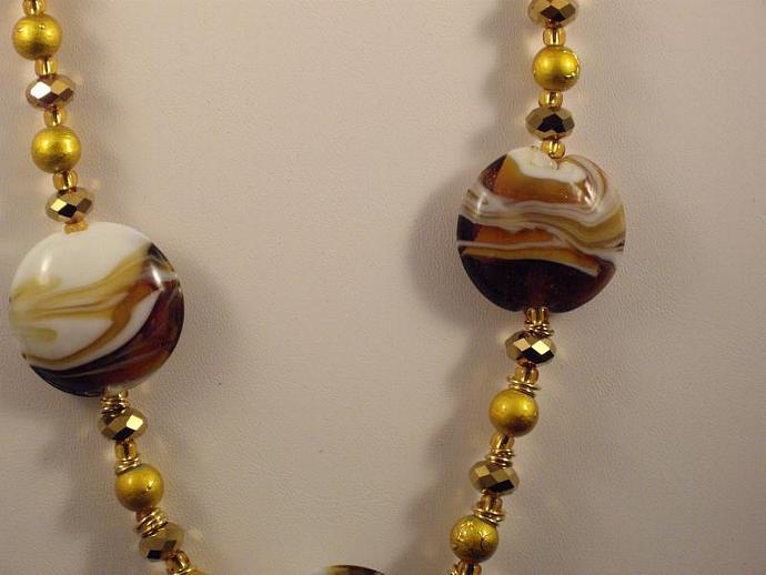 Caramel Swirl Glass Bead Necklace
