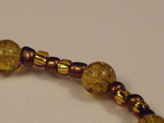 Golden Glass Crackle Bead Bracelet
