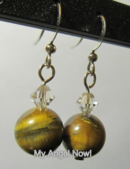 Tigereye Swarovski crystal earring
