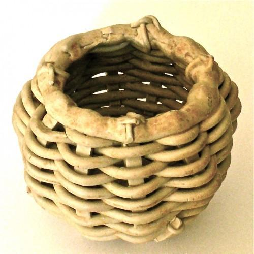 Woven Ceramic Footed Tea Light Candleholder, Vintage 1980s