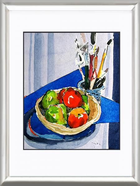 Art  — APPLES and PEARS In a Wooden Bowl Fine Art Print Still Life Contemporary