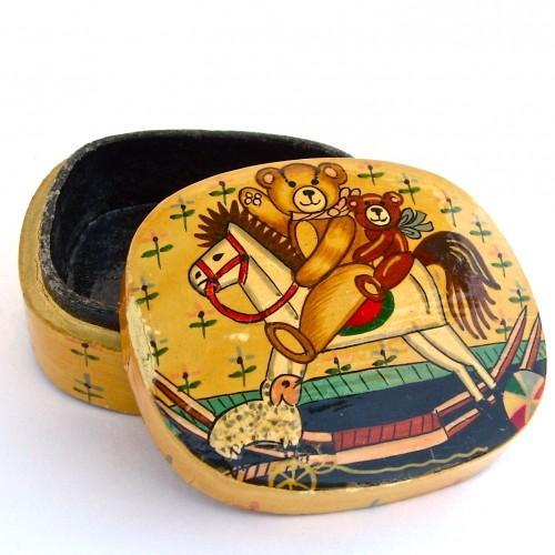 Vintage Paper Mache Jewelry Box - Hand Painted, Collectable