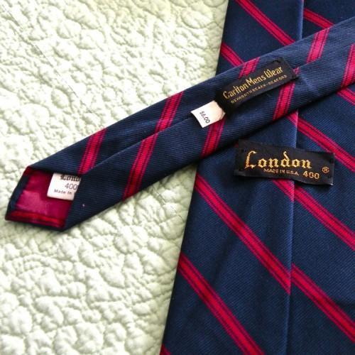 Navy and Red Classic Necktie, Vintage 1970s