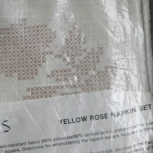 Vintage Rose Embroidery Napkin Set Kit - Unopened