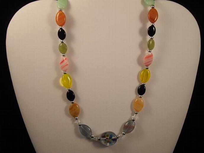 Lampwork, Crystal and Czech Glass Bead Necklace