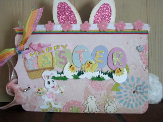 The Cutest Mini Easter Scrapbooking Album-One of a Kind- Made for you for