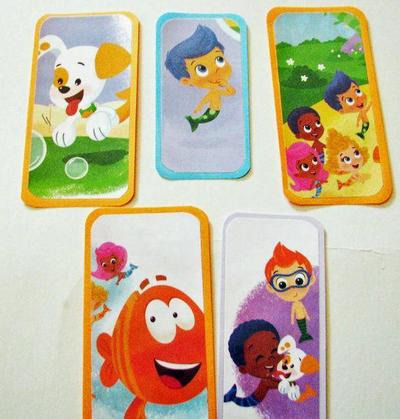 Bubble Guppies- A set of Five bookmarks for your Birthday party- Favors- Goodie