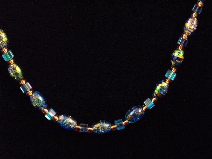 Blue Crackle Glass Necklace