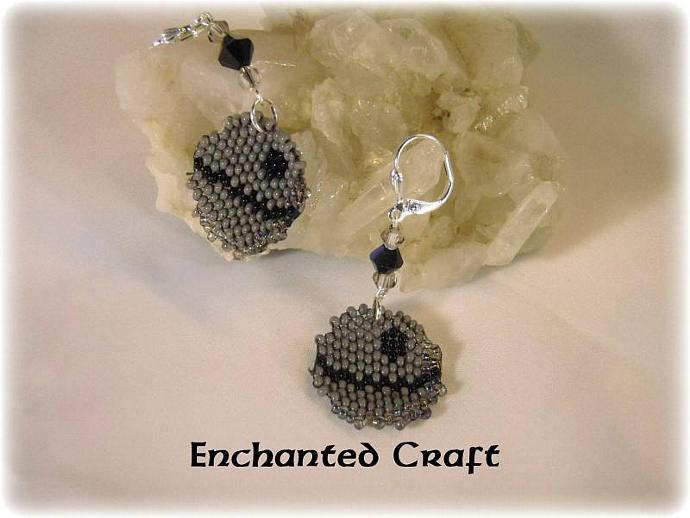 Star Wars Seed bead DEATH STAR earrings- lever back