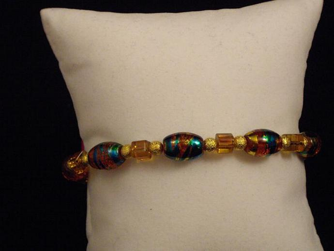 Amber Crackle Bead Bracelet