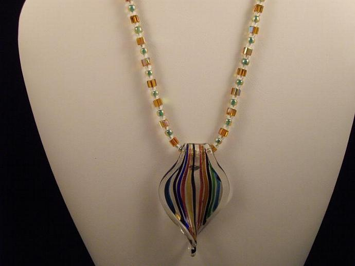 Glow in the Dark Bead Necklace with Glass Pendant