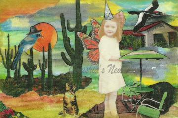 Ghostly Gert's Tucson Patio Party ( Tiny Tale Art) ~ Watercolor Collage Print