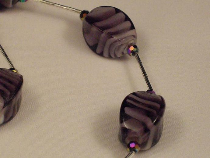 Purple Glass and Long Metal Bead Necklace