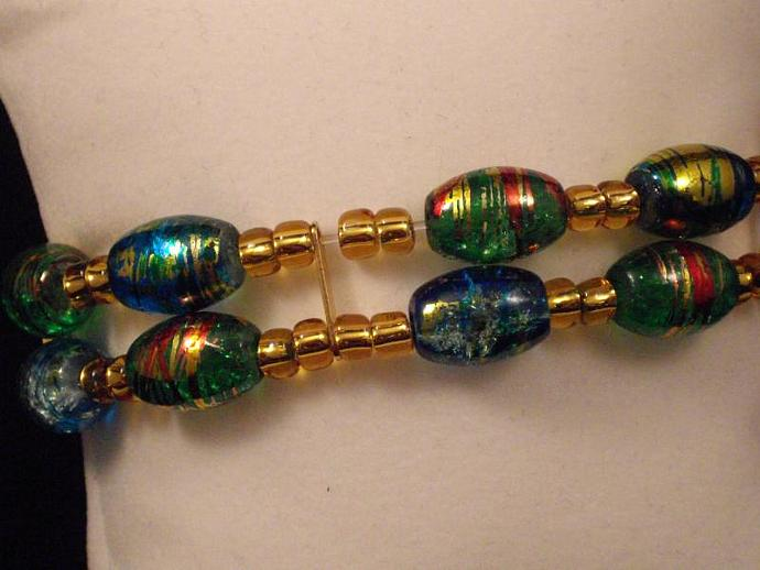 Blue and Green Crackle Glass Stretchy Bracelet