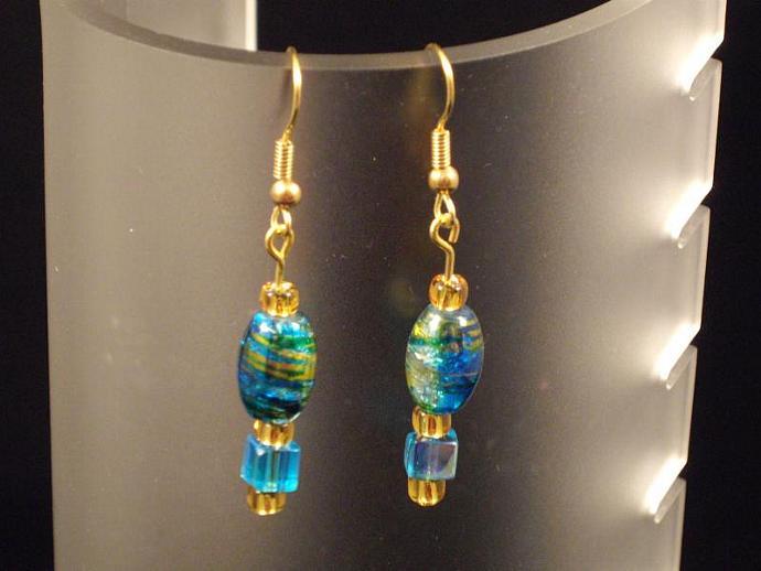 Blue Crackle Bead Drop Earrings