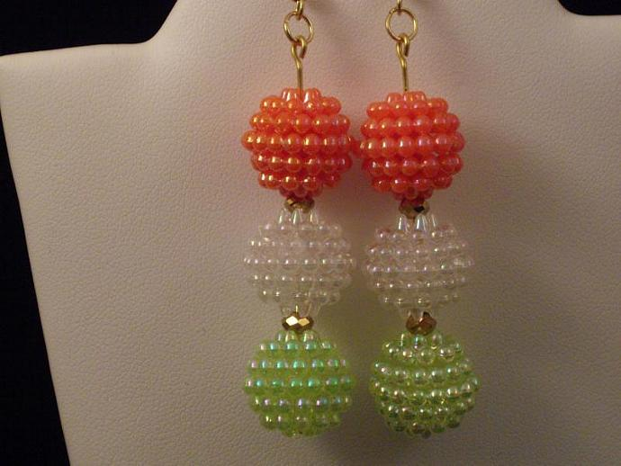 Bubble Bead and Crystal Drop Earrings