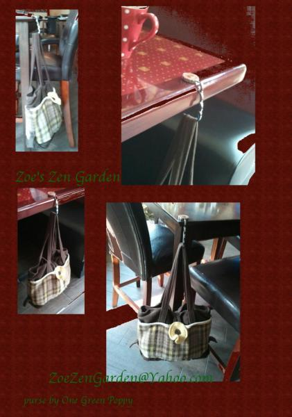 Purse Hanger in Silvertone with Copper Dots
