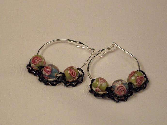 Lampwork Bead and Chain Earrings