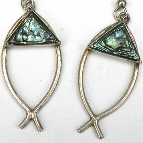 Silver and Abalone Vintage Fish Earrings