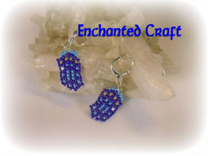 Dr Who Seed bead TARDIS earrings- lever back