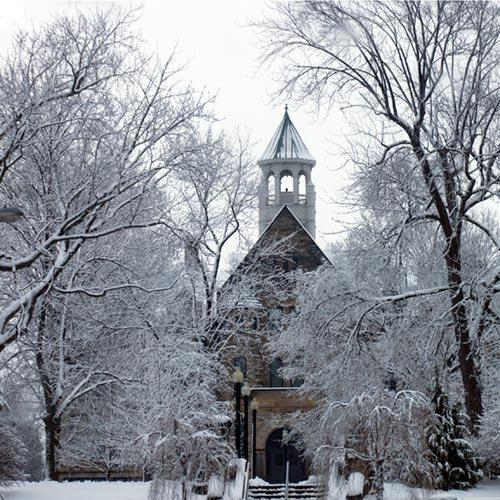 Baldwin Wallace College's Marting Hall in Winter Setting Berea Ohio Fine Art