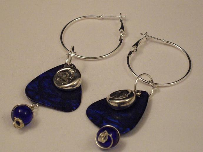 Blue Guitar Pick and Charm Hoop Earrings