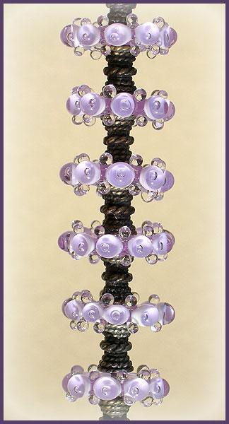 Lampwork Lavender Beads, Handmade Lampwork Bubble Glass Beads Disc Set (6)