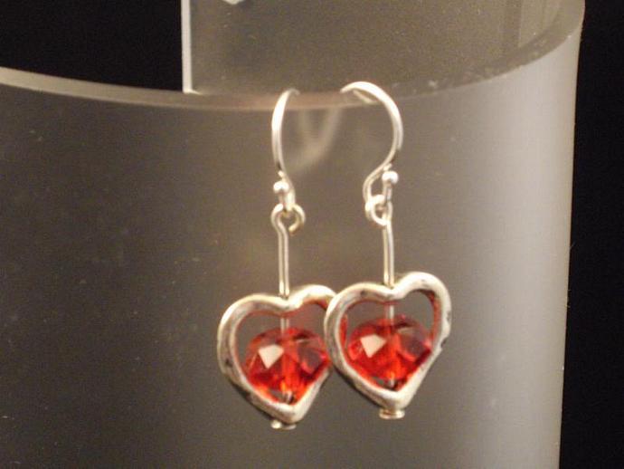 Red Crystal Heart Drop Earrings