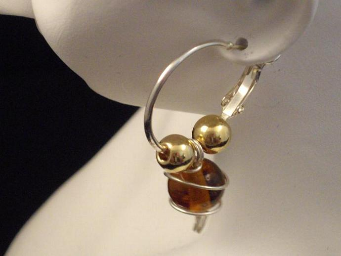 Amber and Goldtone Bead Hoop Earrings