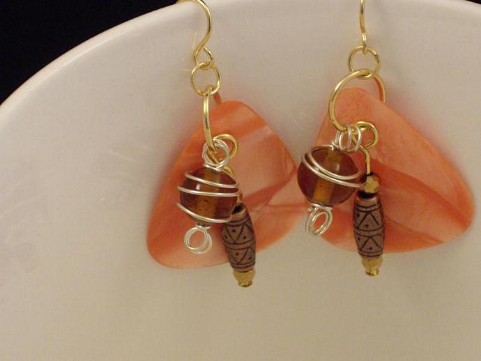 Copper and Guitar Pick Earrings