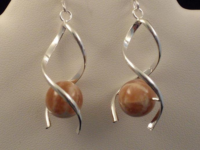 Sunstone Spiral Drop Earrings